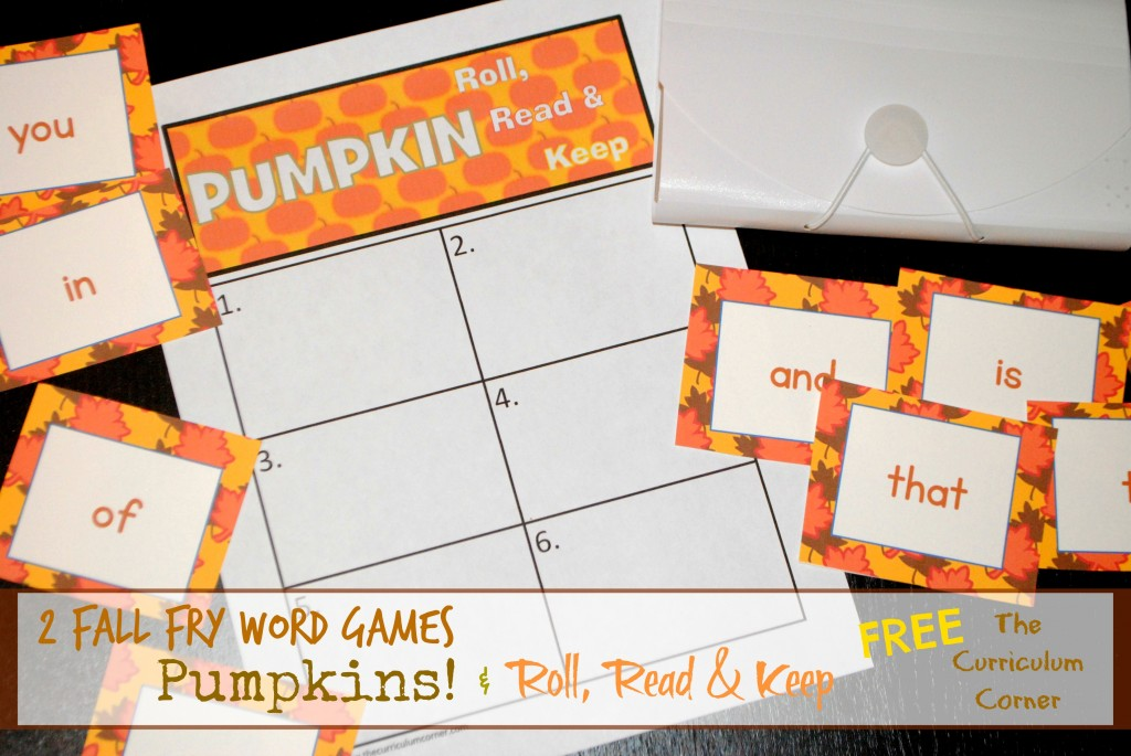Fall Fry Word Games   Roll, Read & Keep plus Pumpkins Game for the first 300 words FREE from The Curriculum Corner
