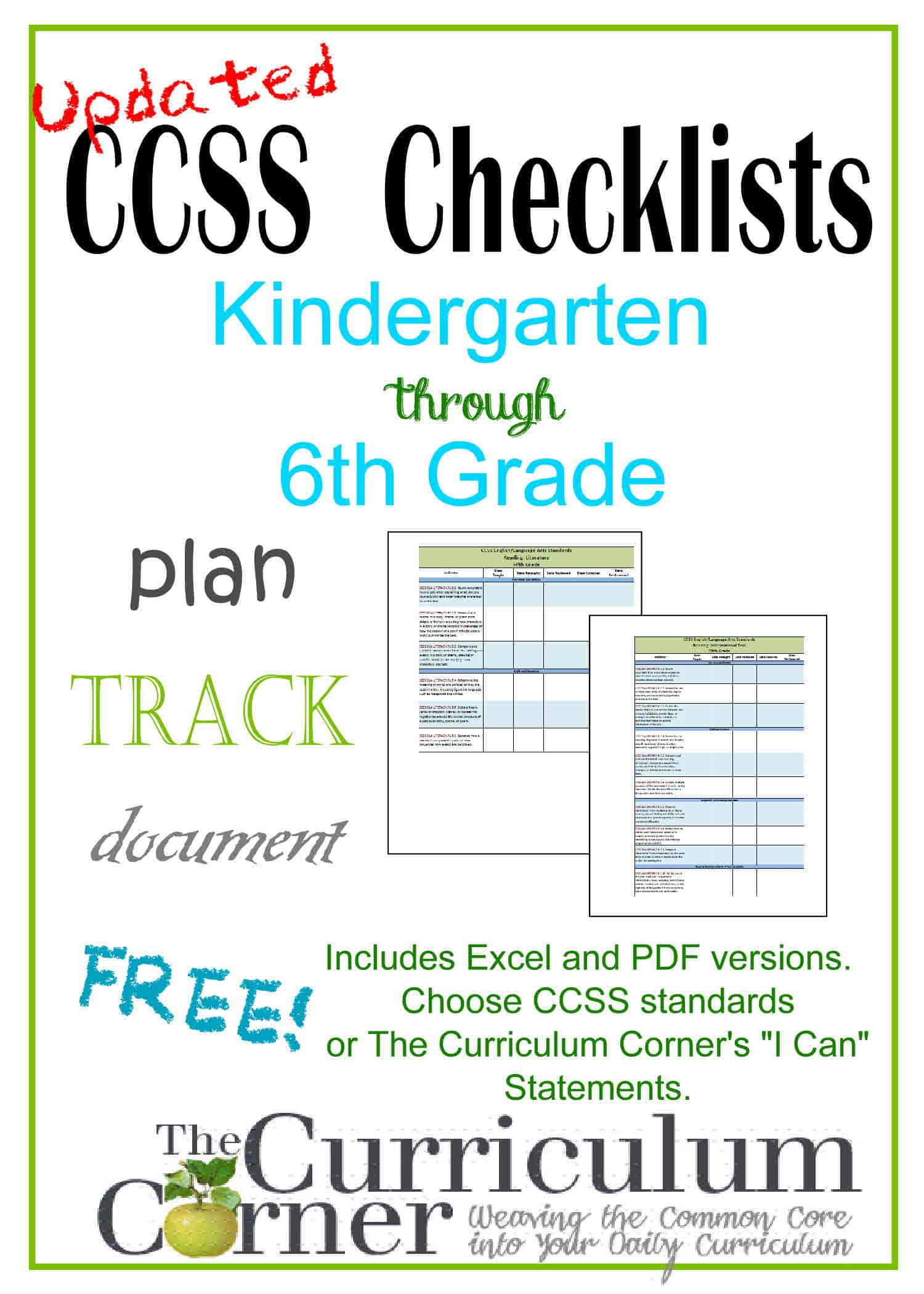 "Updated Common Core & ""I Can"" Checklists"