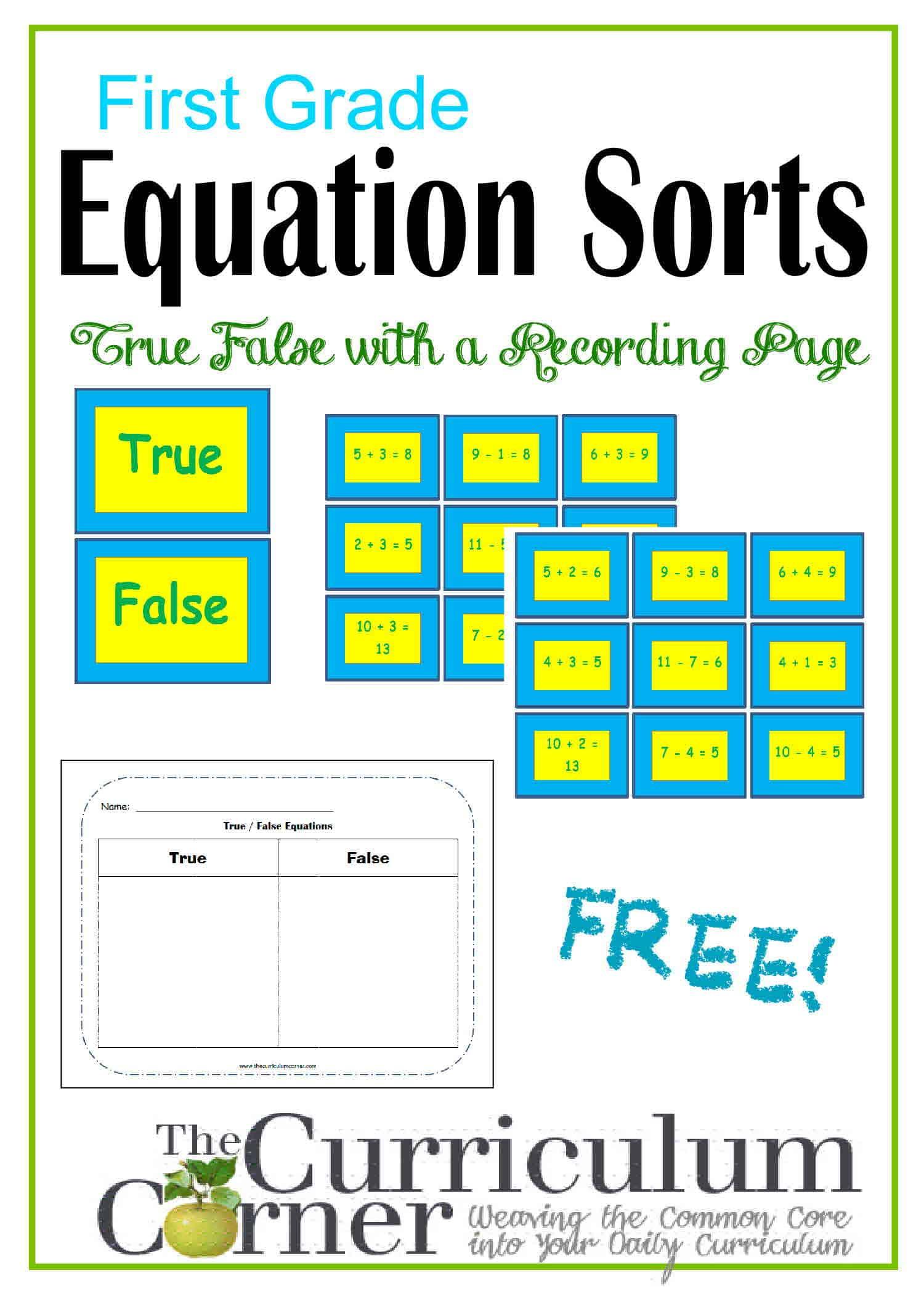 First Grade True/False Equation Sorts