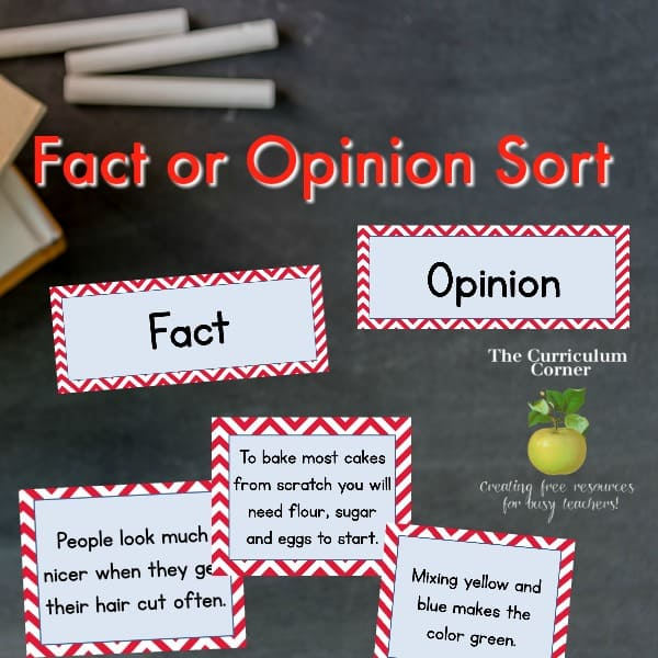 Fact or Opinion Sorting Cards