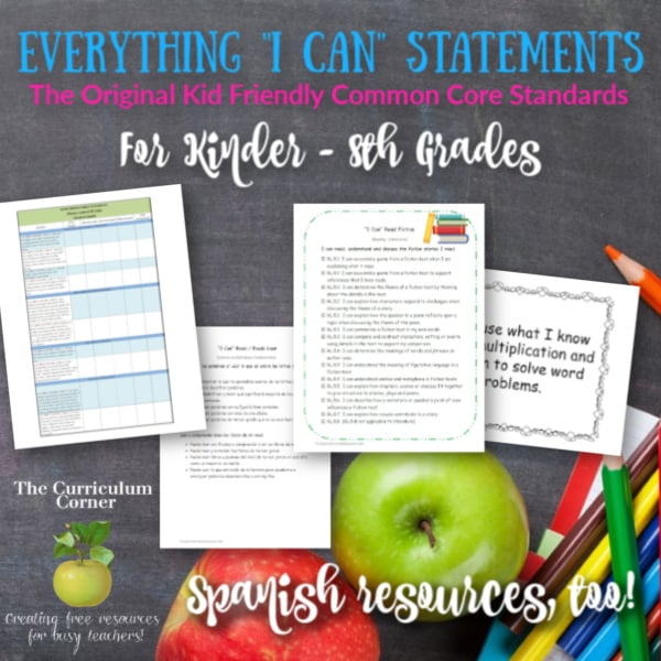 "Everything CCSS ""I Can"" for K – 8 Grades"