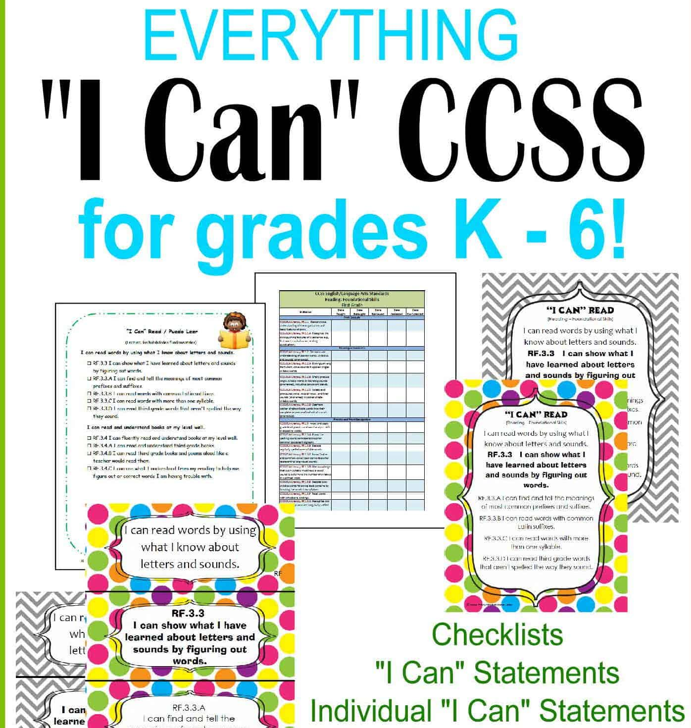 """Everything CCSS """"I Can"""" for K – 8 Grades"""