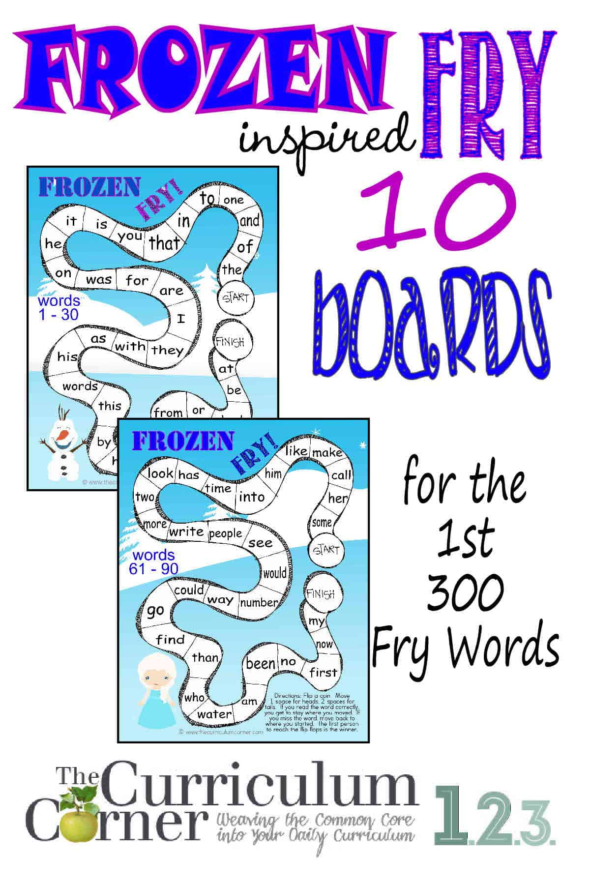 Frozen Inspired Fry Word Games