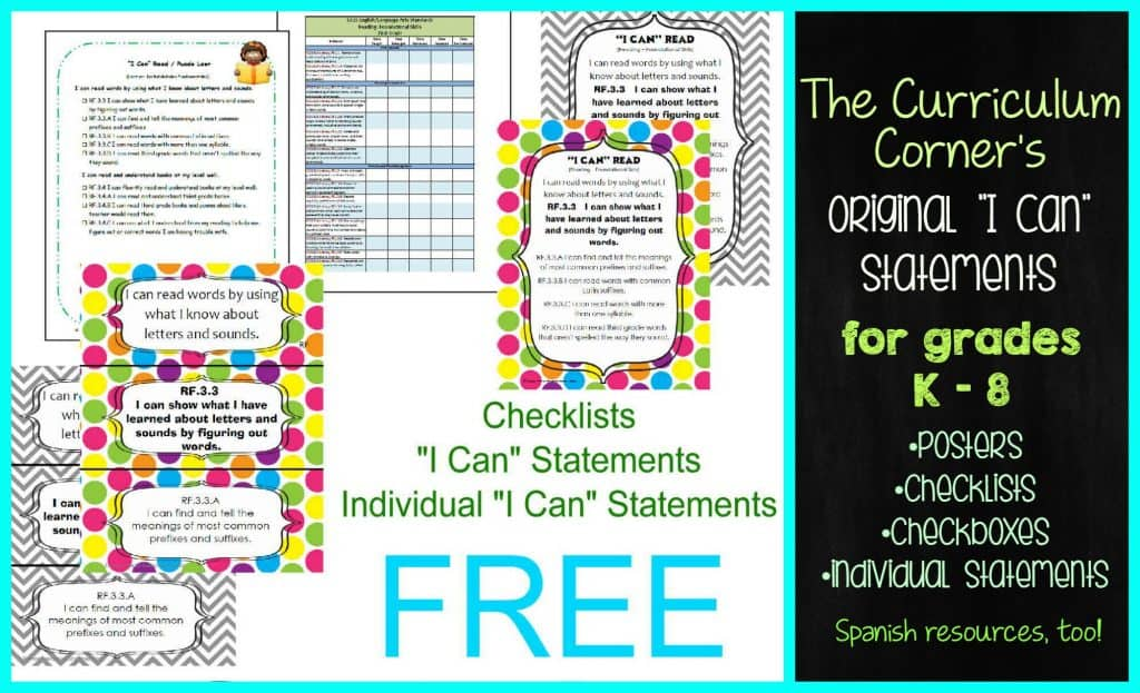 """WOW! Free """"I Can"""" Statements from The Curriculum Corner   K - 8th grades   checklists, checkboxes, posters & more! Written to spiral between grade levels."""