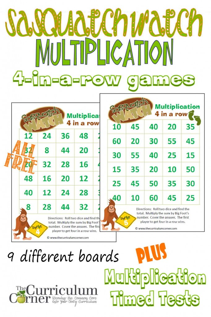 Free Big Foot Themed Multiplication Games from The Curriculum Corner PLUS Basic Facts Strategies with Multiplication Timed Tests