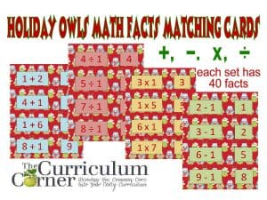 Holiday Owl Math Facts Matching Cards for addition, subtraction, multiplication and division free from The Curriculum Corner