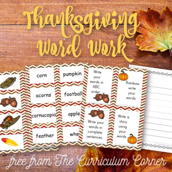 Thanksgiving Word Cards w/ Activities