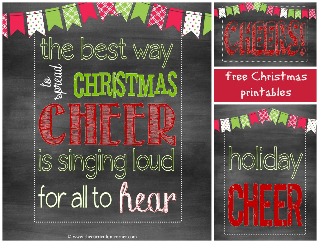 Cheers! Holiday Celebration by The Curriculum Corner with free Chalkboard Party Printables
