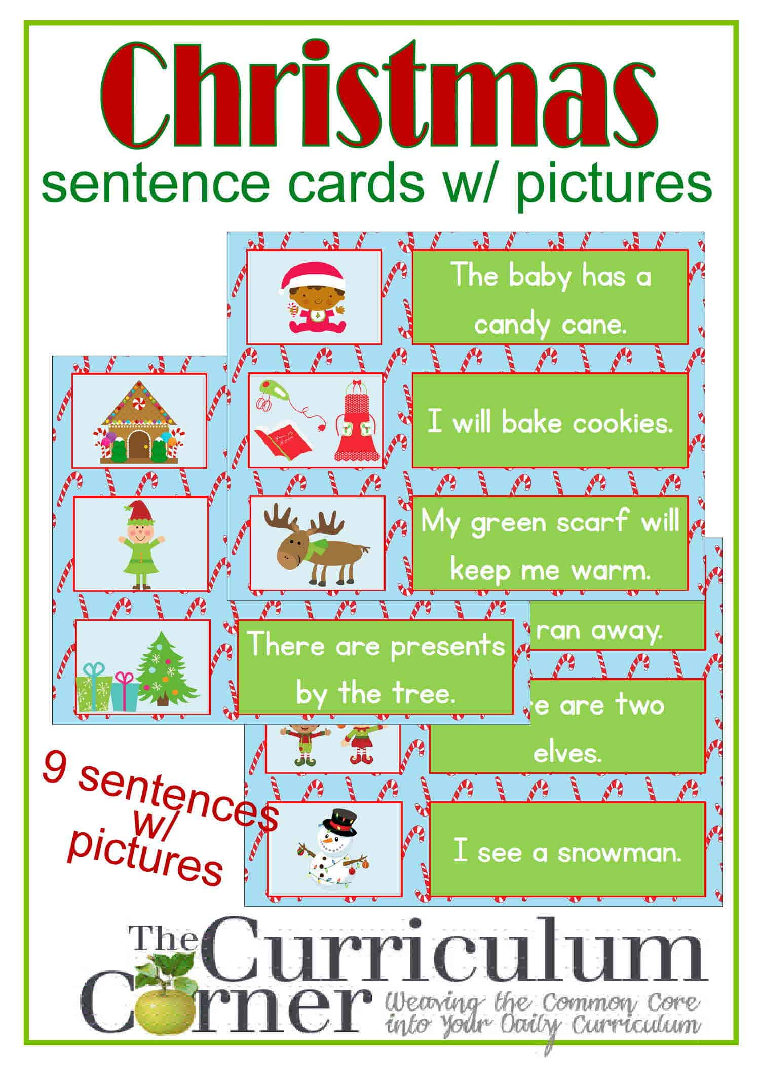 Christmas Sentence Cards w/ Pictures