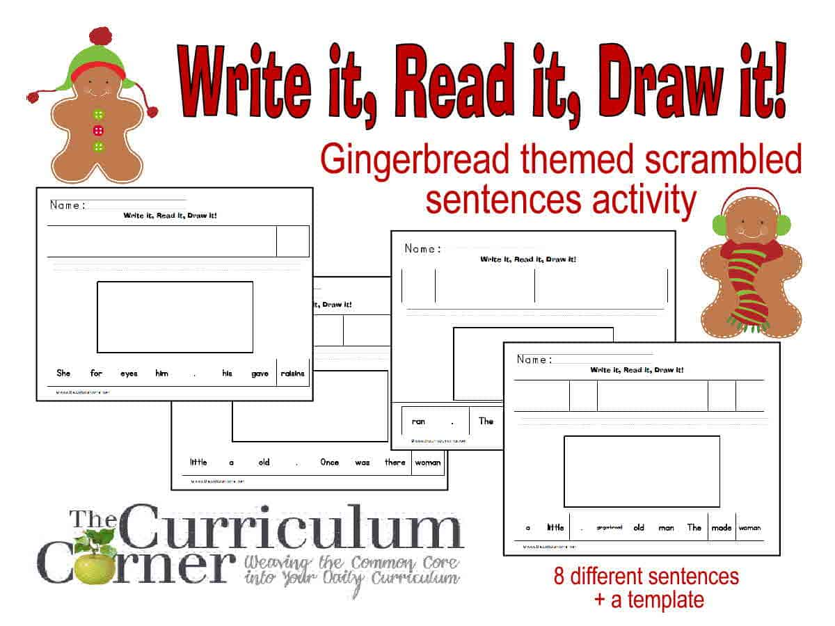 Gingerbread Themed  Read It! Write It! Draw It!