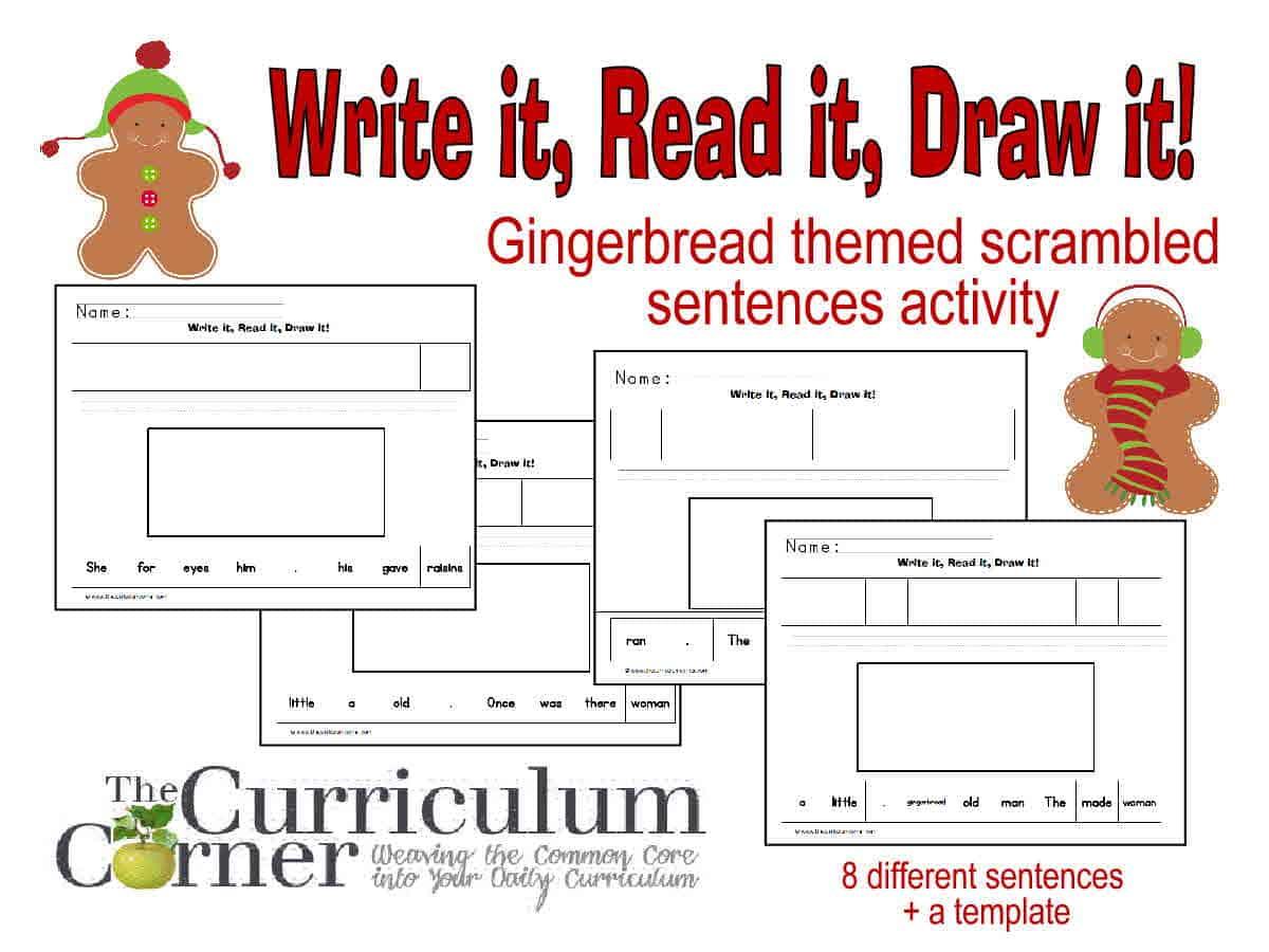 Gingerbread Themed  Read It! Write It! Draw It!