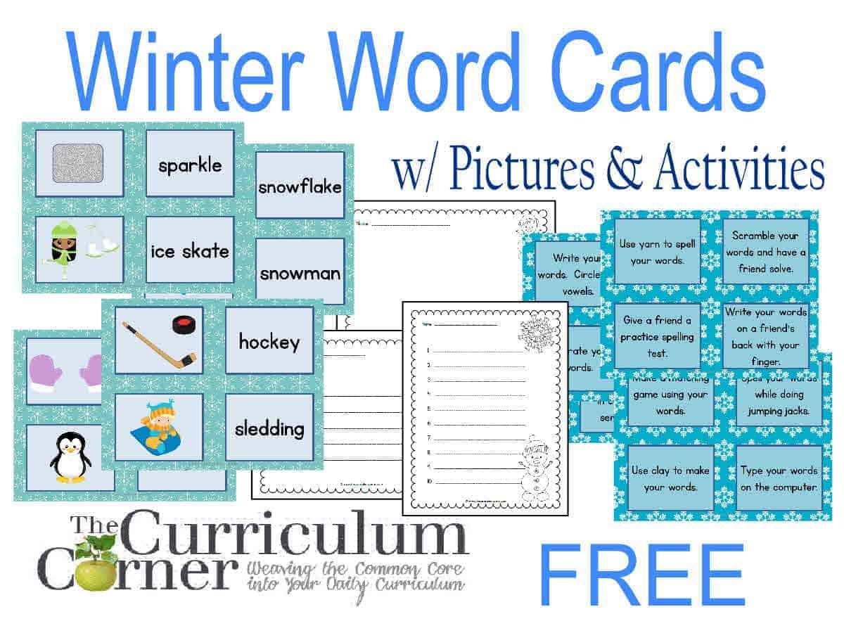 Winter Word Cards w/ Activities