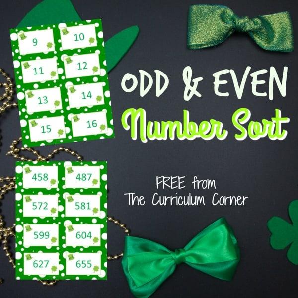 St. Patrick's Day Odd & Even Number Sort