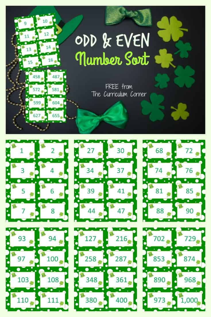 FREE Odd and Even Sort for Numbers from The Curriculum Corner 2