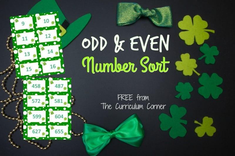 We have created this free odd and even sort for numbers with a festive St. Patrick's Day theme - a perfect addition to your number sense practice.