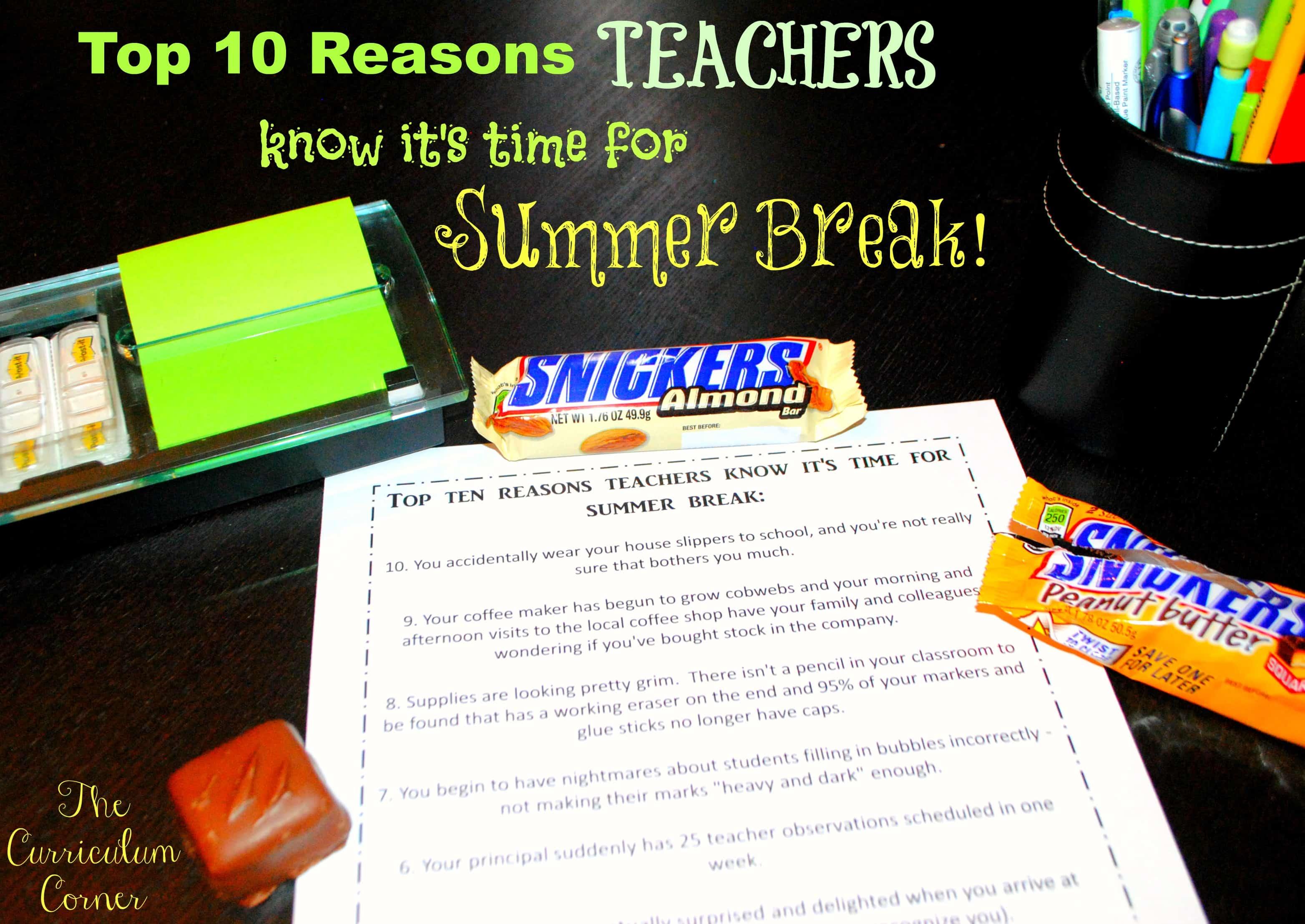 Top Ten Reasons Teachers Know It's Time for Summer Break