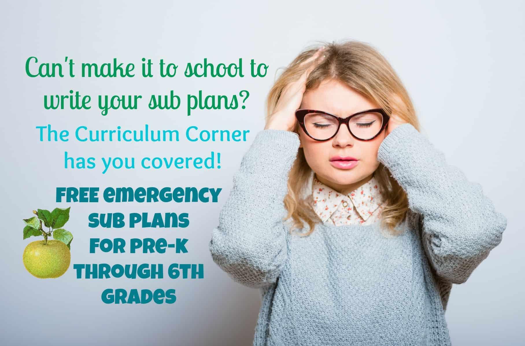 Pre-K – 6th Grade Emergency Sub Plans