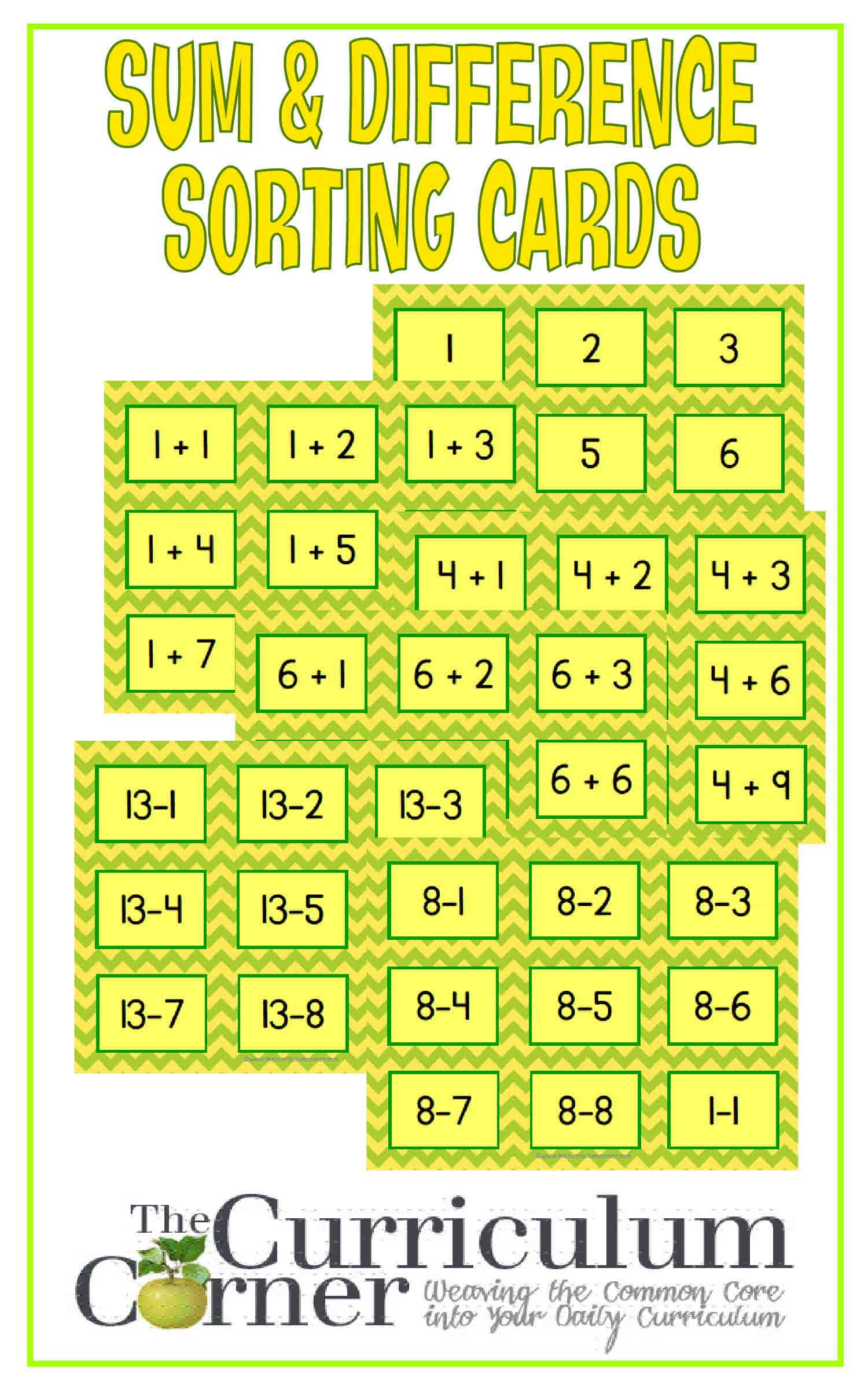 Sum & Difference Sorting Cards