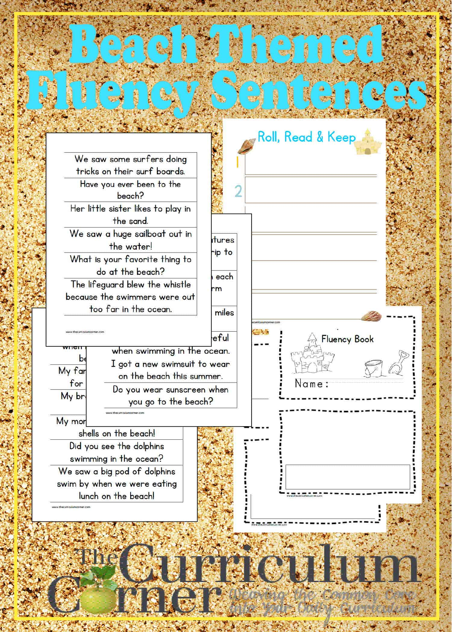 Beach-Themed Fluency Sentences