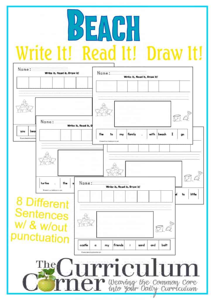 Beach Themed Write It Read It Draw It Sentences from The Curriculum Corner | great for a literacy center!  FREE