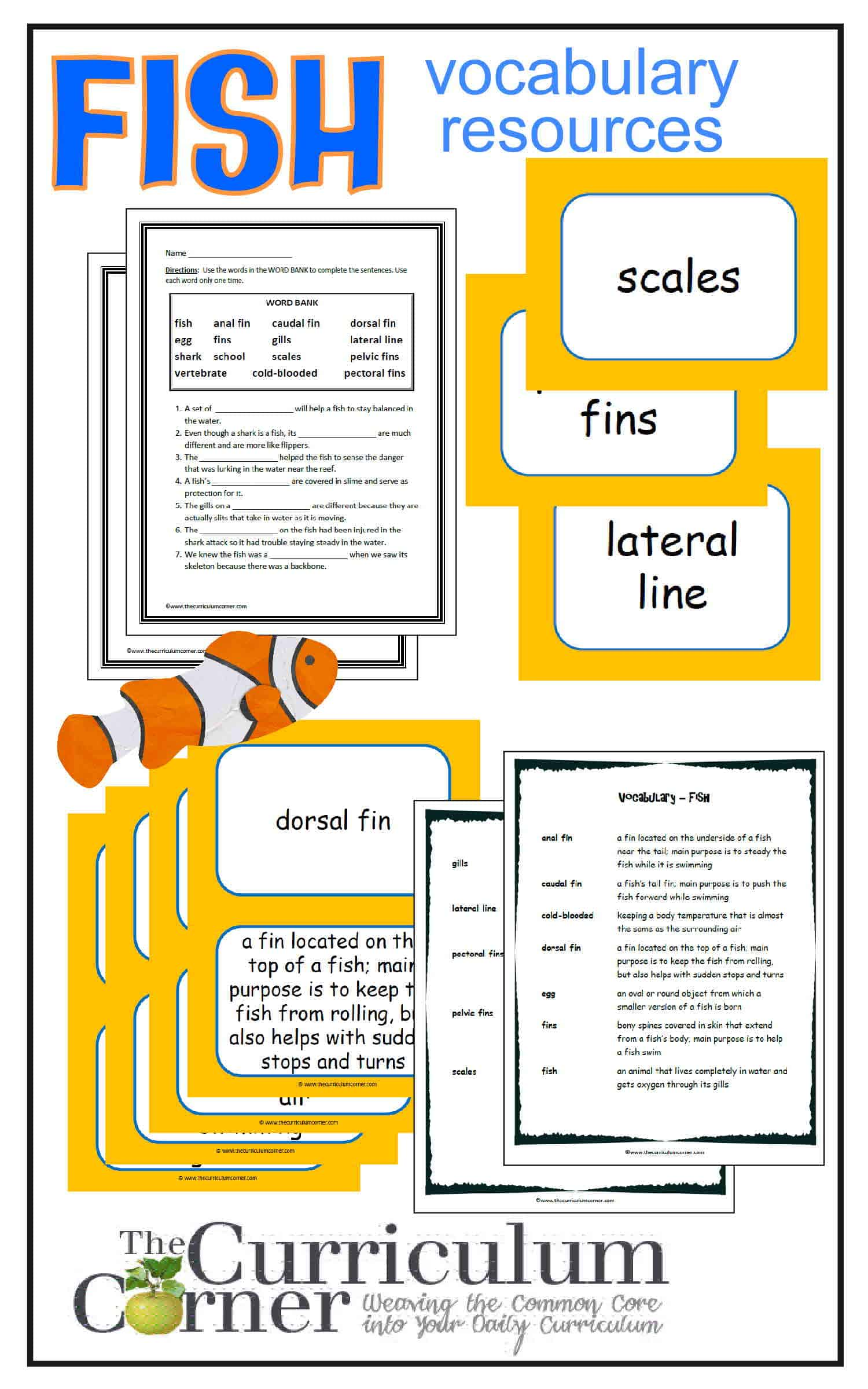 Weekly Themed Vocabulary Words & Activities – Set 4 (Fish)