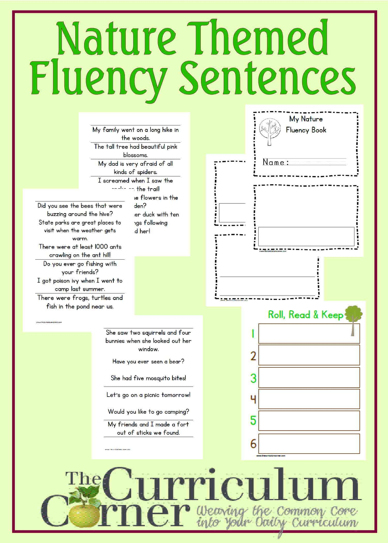 nature themed fluency sentences the curriculum corner 123. Black Bedroom Furniture Sets. Home Design Ideas