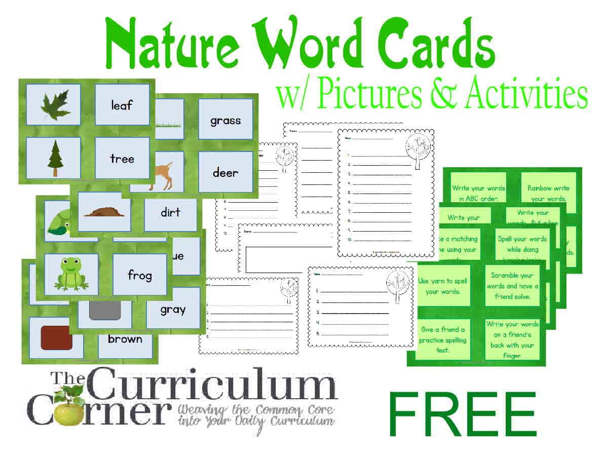 Nature Word Cards w/ Activities