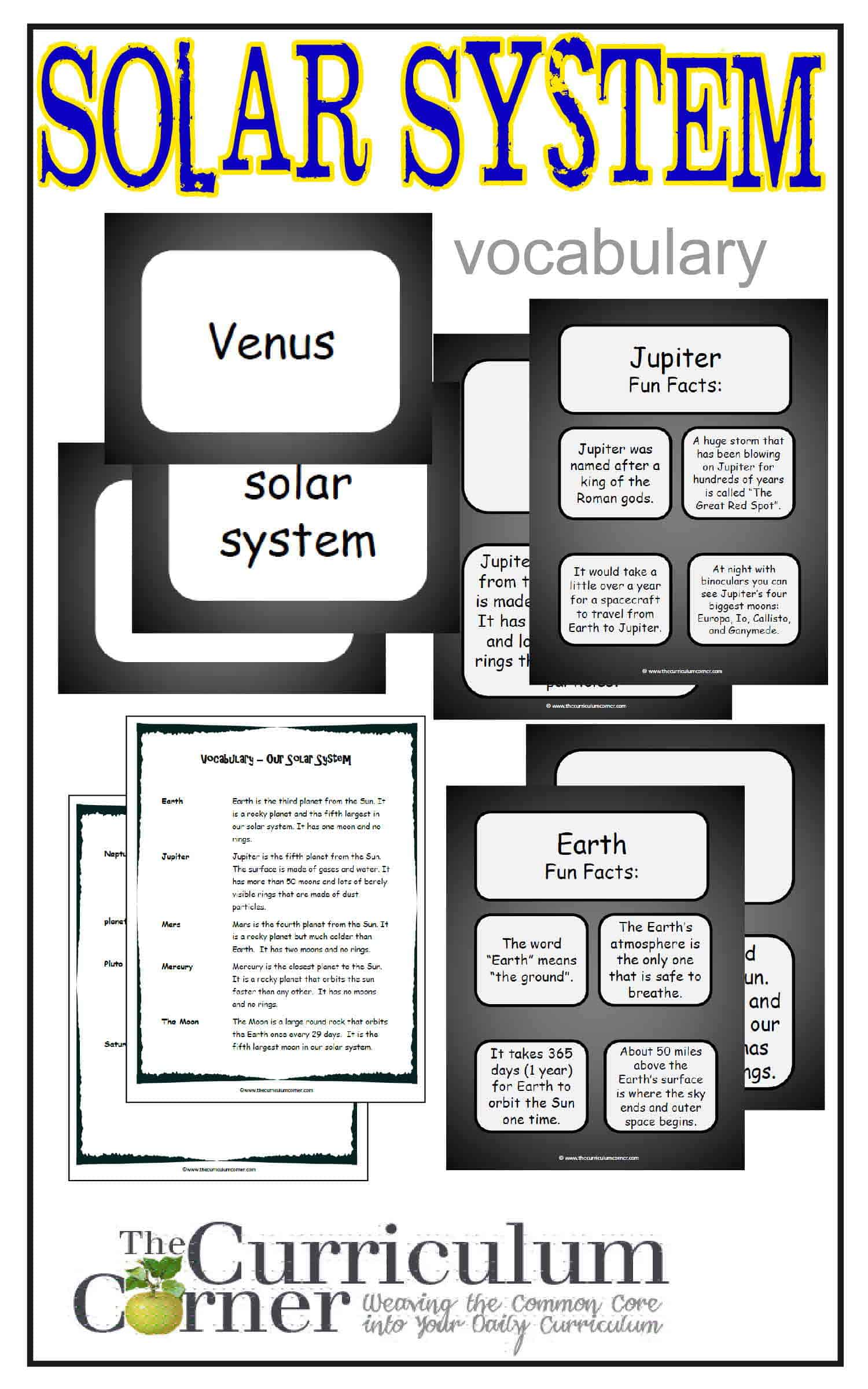 Weekly Thematic Vocabulary Words & Activities: Set 9 (The Solar System)