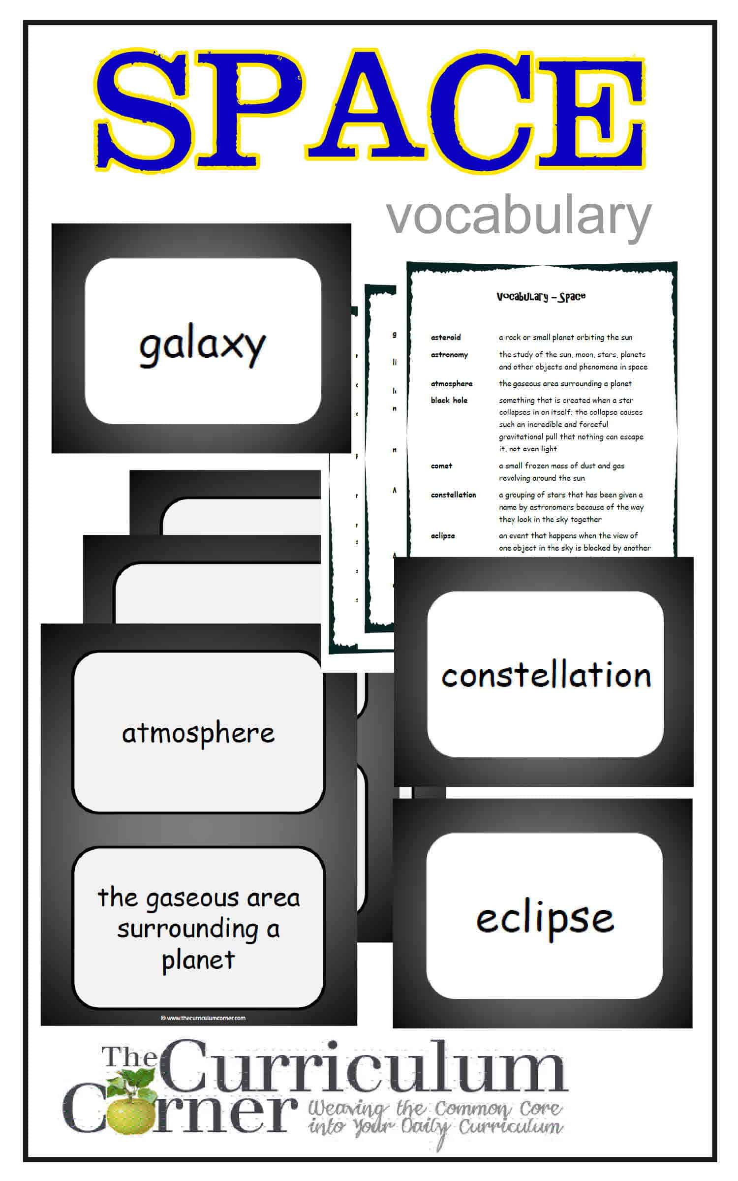 Weekly Themed Vocabulary Words & Activities – Set 8 (Space)