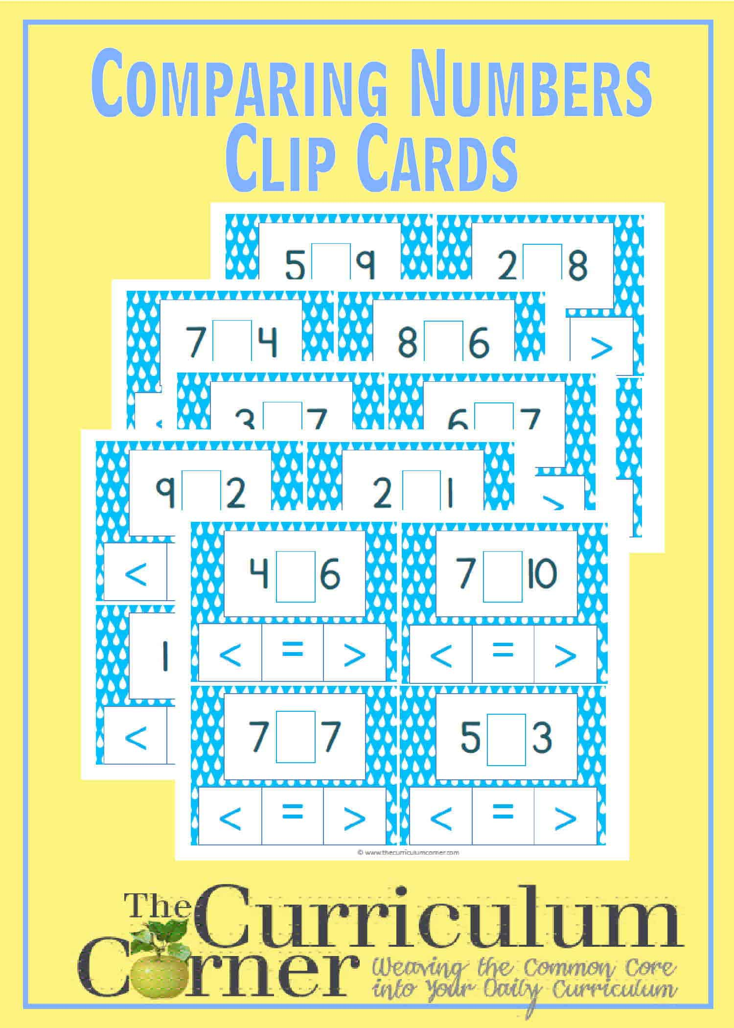 Comparing Smaller Numbers Clip Cards