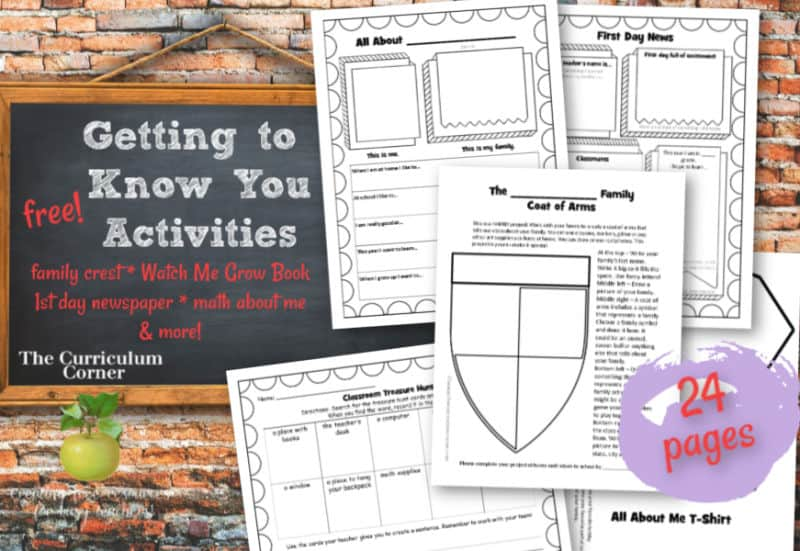 Download these free getting to know you activities for back to school