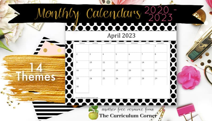 Free printable calendar pages for teachers