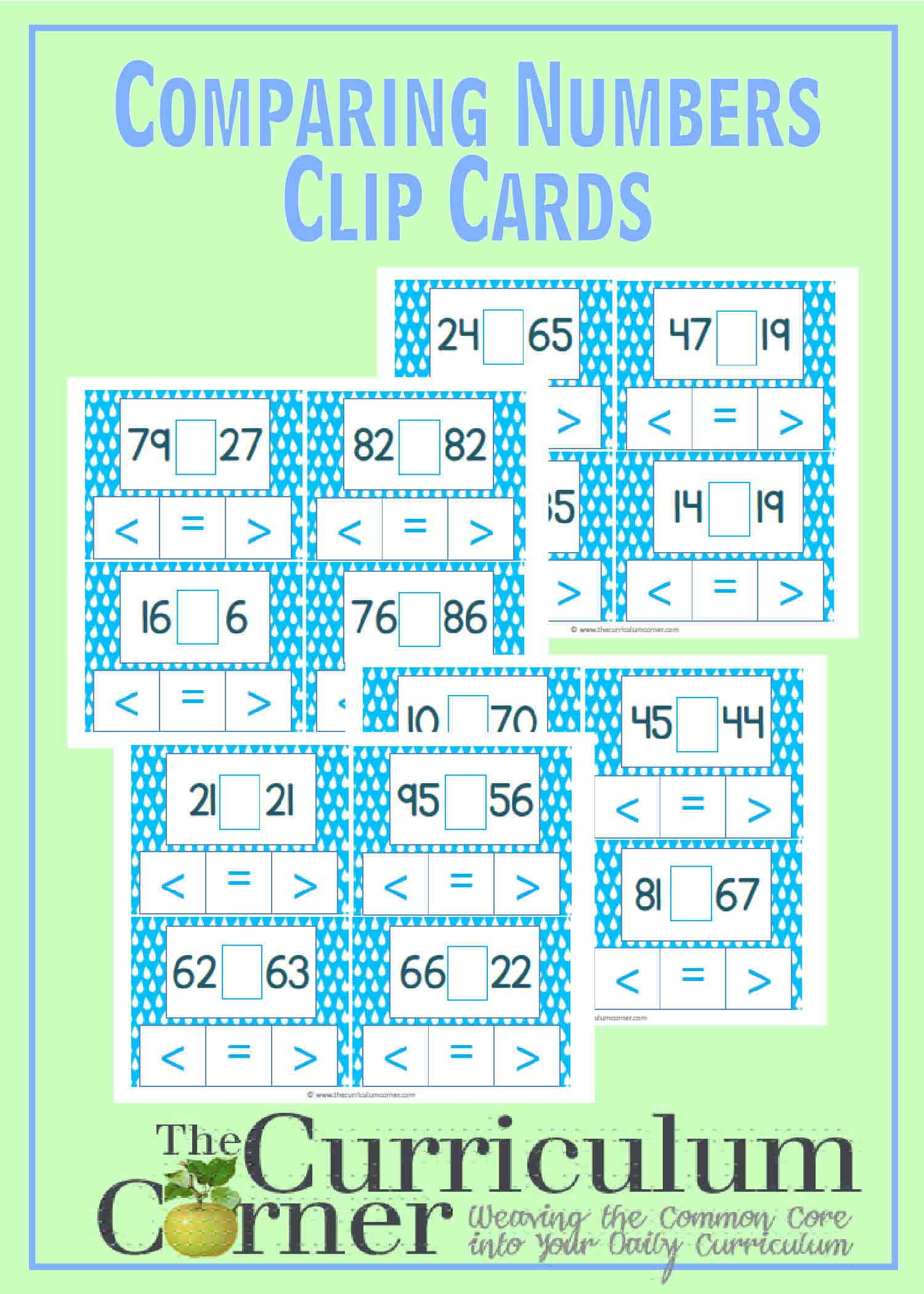 Comparing 2-Digit Numbers Clip Cards