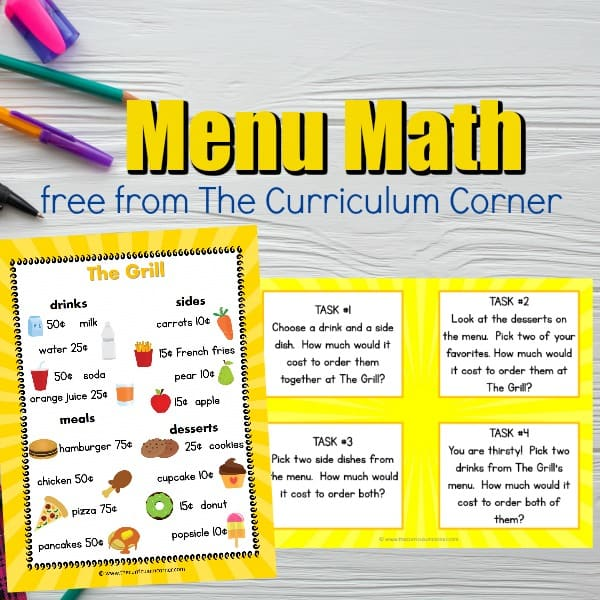 Menu Math Center
