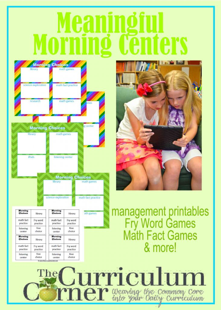 Managing Morning Centers from The Curriculum Corner FREE