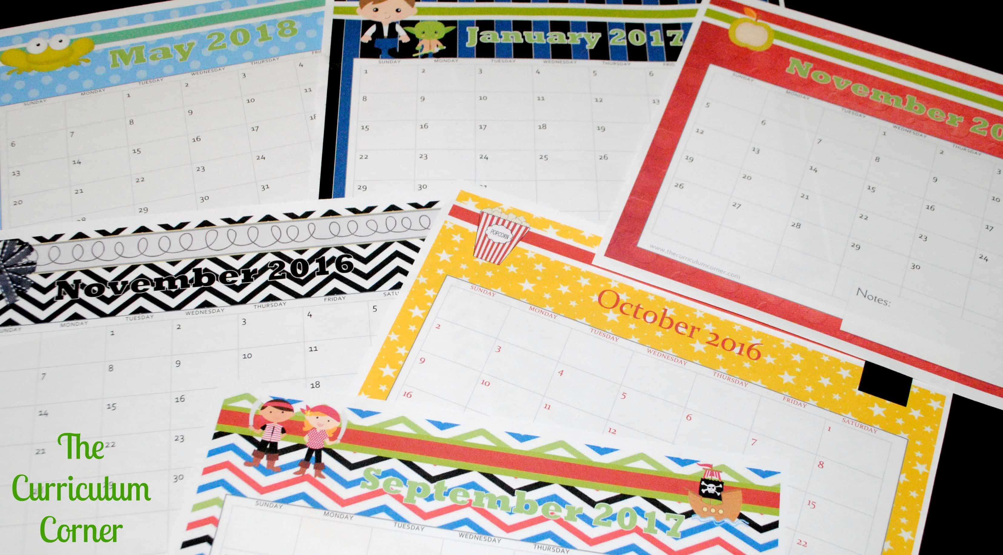 Free Teacher Calendar Pages