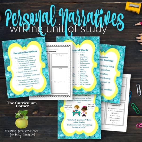 Unit of Study: Personal Narratives