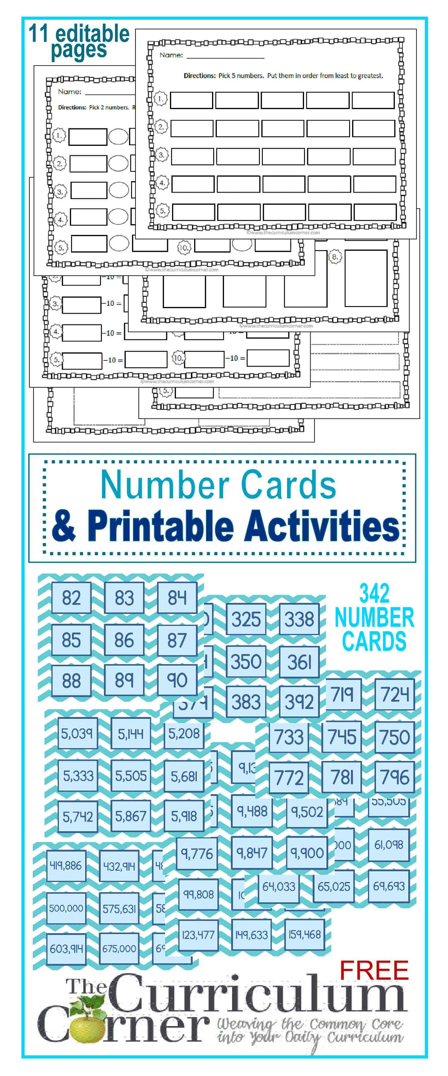 Number Cards & Printable Activities - The Curriculum Corner 123