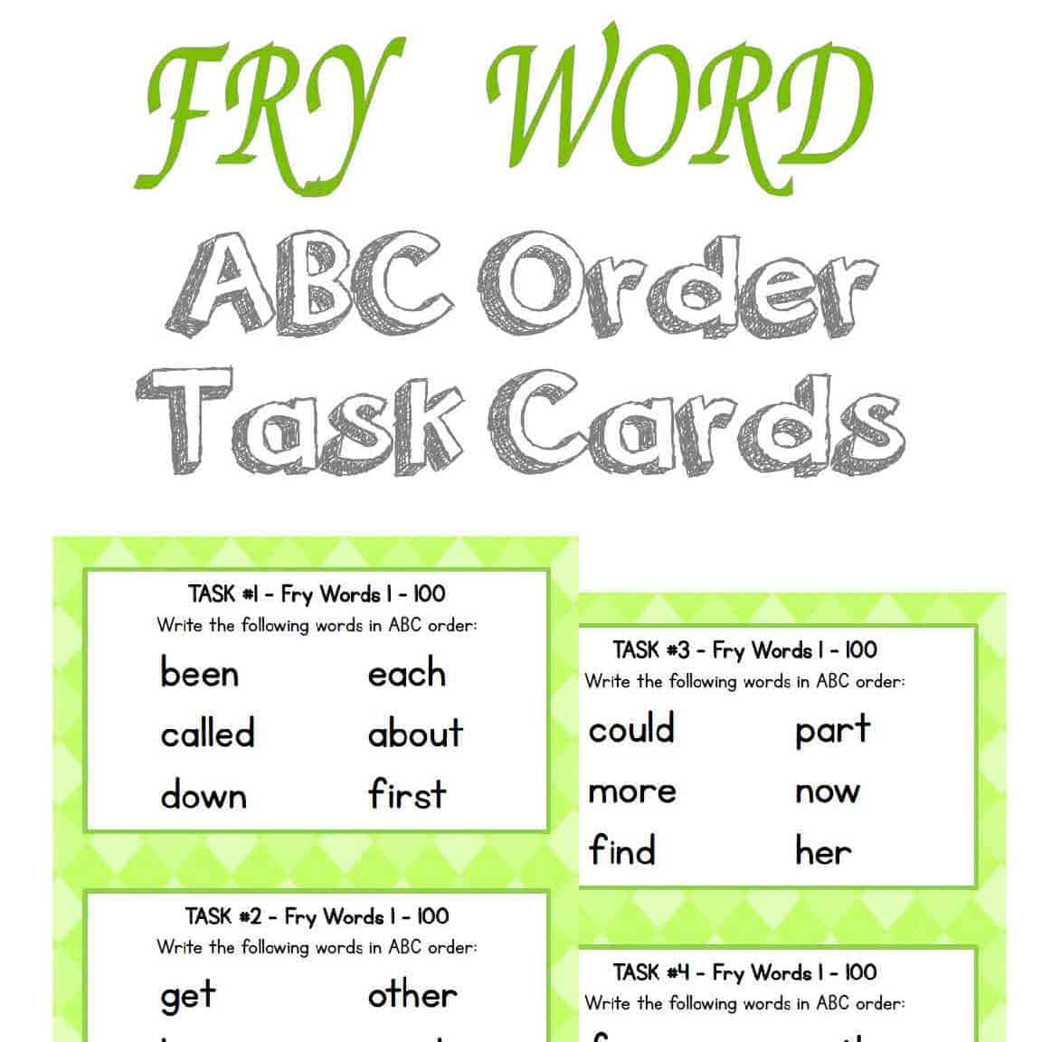 Worksheet Fry Word Cards fry word abc order task cards the curriculum corner 123