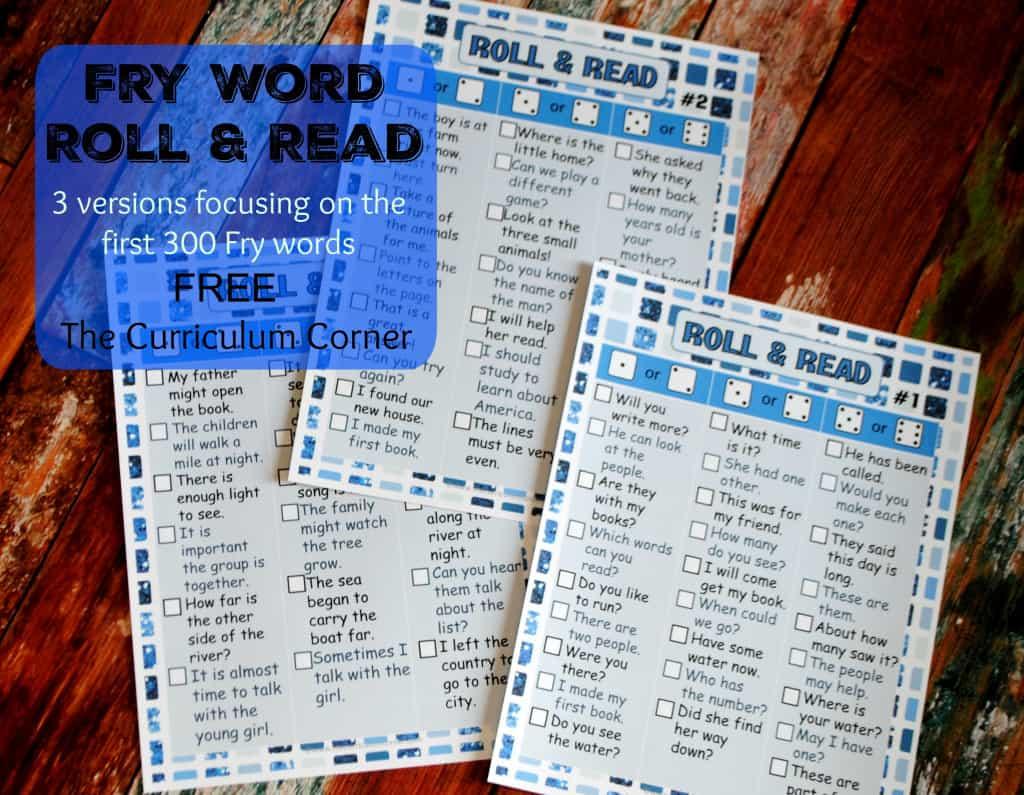 Fry Word Sentences Roll & Keep