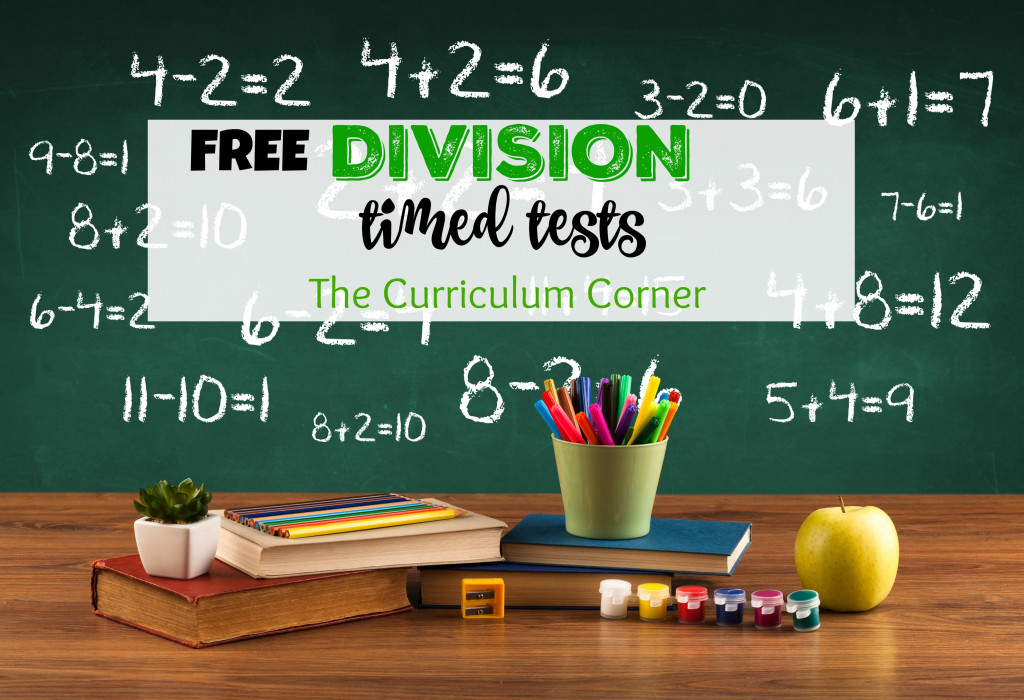 Division Timed Test | Free Collection from The Curriculum Corner | Basic Facts | Math Facts Practice