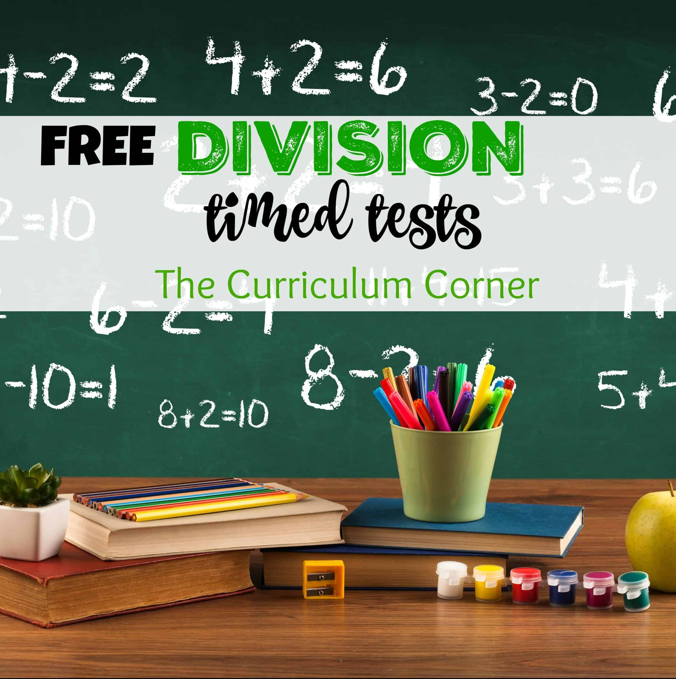 Updated** Division Timed Tests - The Curriculum Corner 123