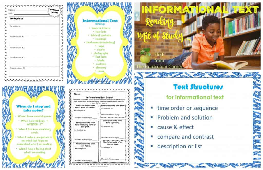Informational Text Reading Unit of Study FREE from The Curriculum Corner   Nonfiction   Mini Lessons   Anchor Charts   Graphic Organizers