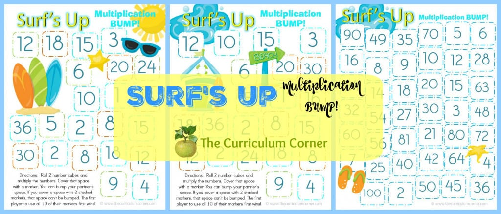 Take a look at our Surf's Up Multiplication Bump! Games to help your students work on mastering their multiplication facts.