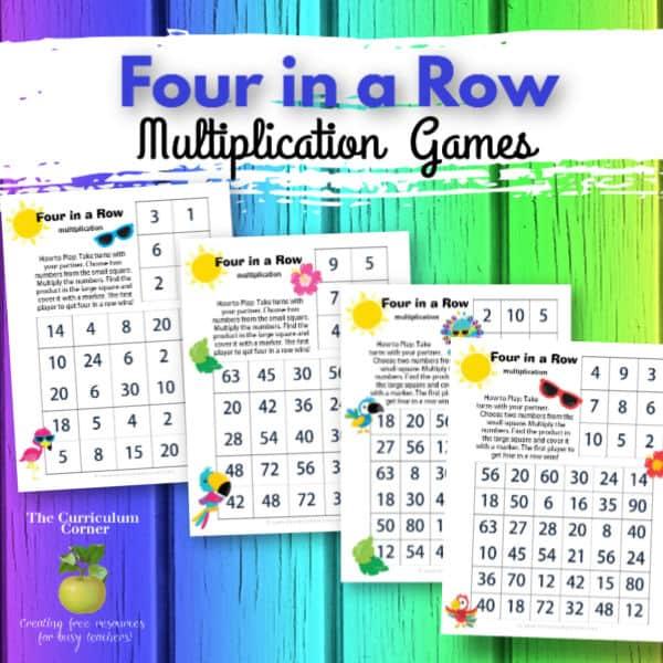 Four in a Row Bird Multiplication Games