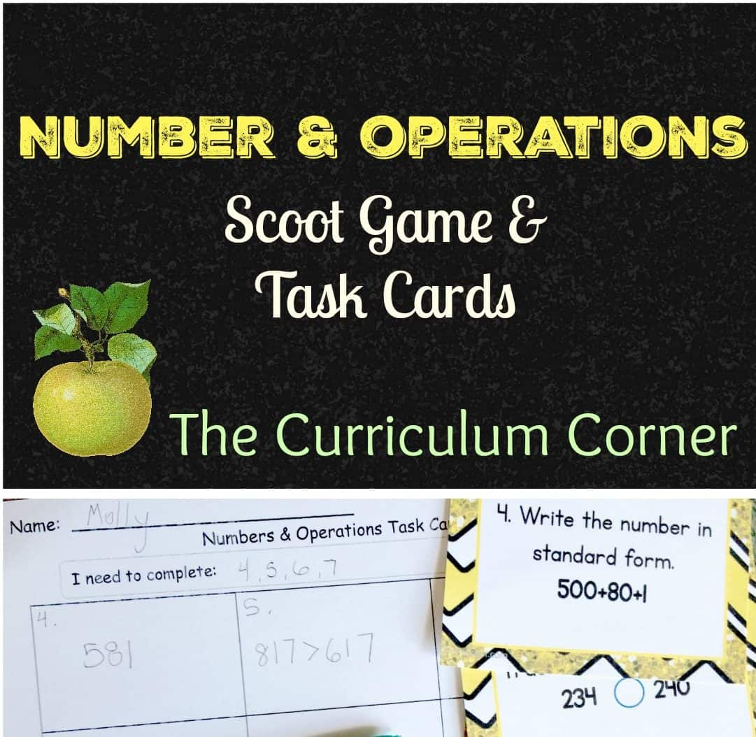 Numbers & Operations Scoot 2nd Grade