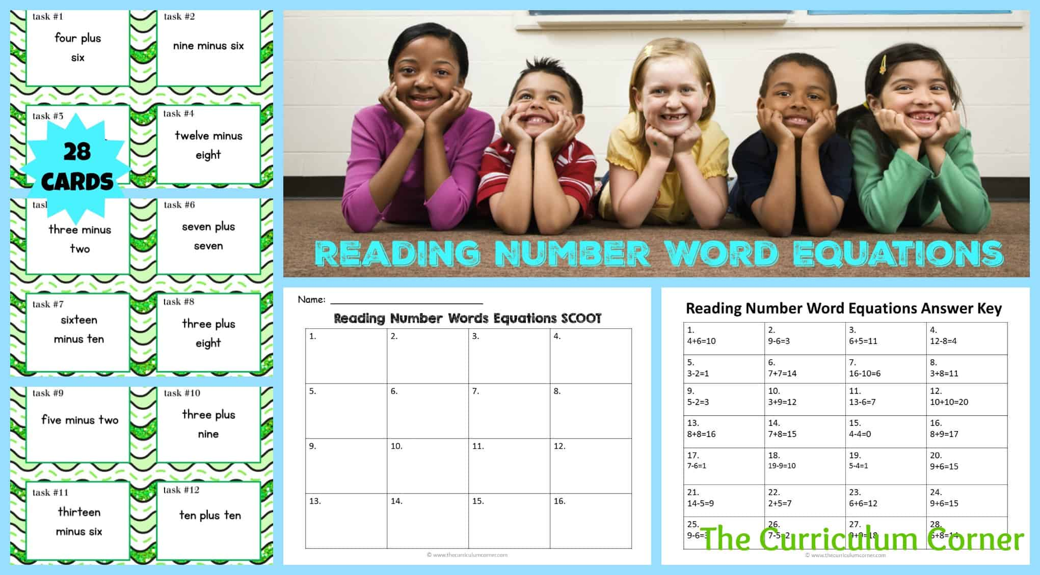 Number Word Equations Task Cards