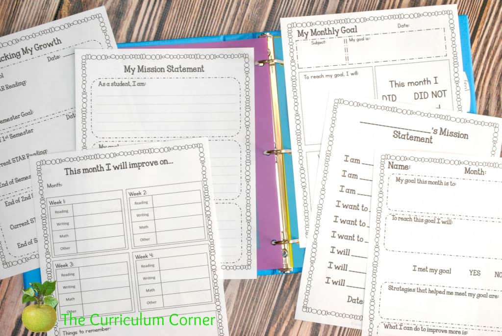 FREE Editable Student Data Binder from The Curriculum Corner with Goal Setting Printables