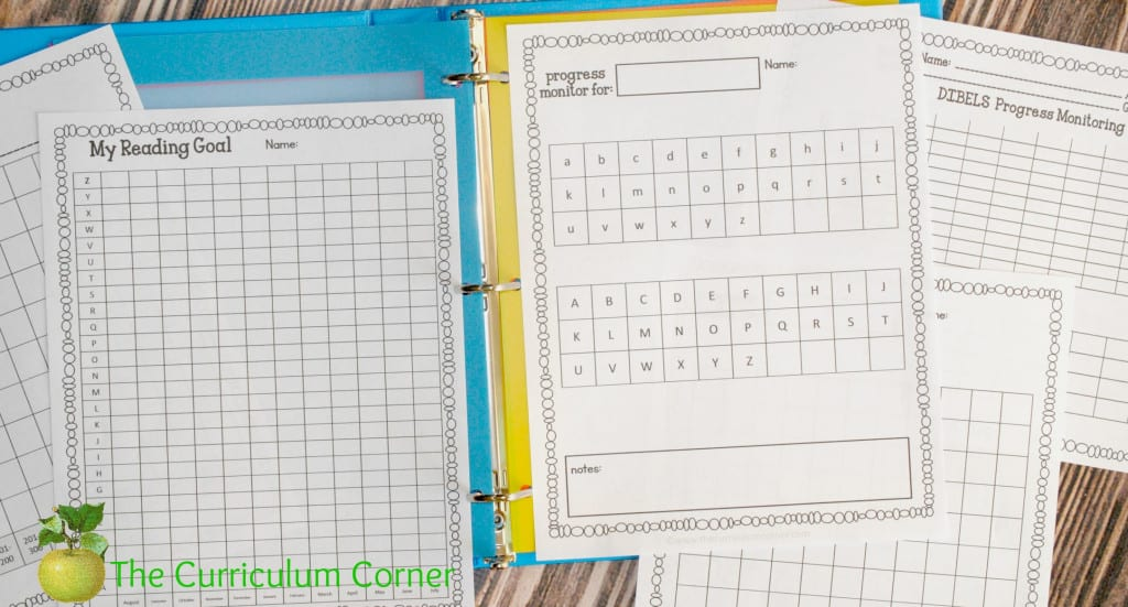 FREE Editable Student Data Binder from The Curriculum Corner with Reading Data Printables