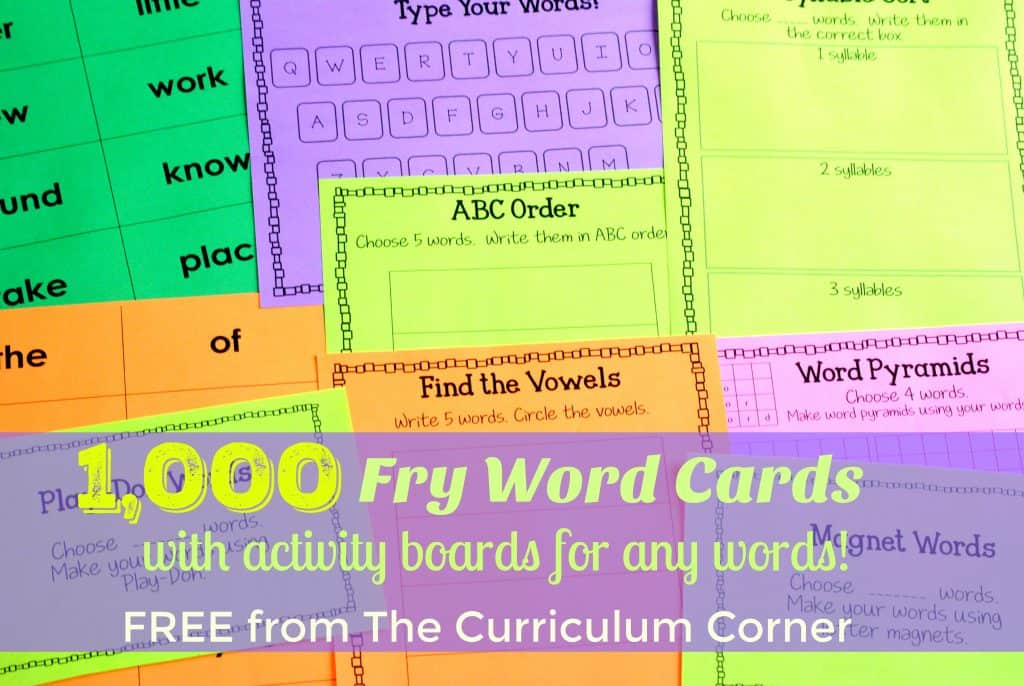 FREE! 1,000 Fry Word Cards + Activity Boards for any word set | The Curriculum Corner